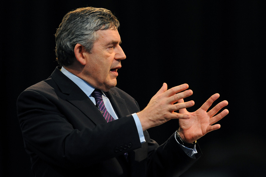 Prime Minister Gordon Brown speaks to an invited audience at the Swalec Stadium in Cardiff ahead of a Cabinet meeting in the Welsh capital, 2009