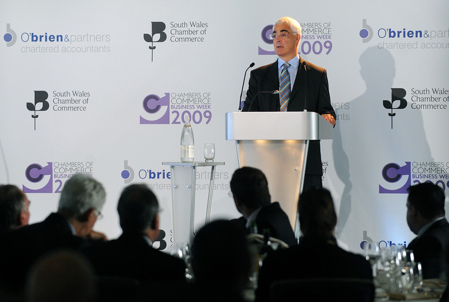 Chancellor of the Exchequer Alistair Darling MP delivers the 2009 Callaghan Lecture at the Chamber of Commerce Business Week in the Cardiff City Stadium.